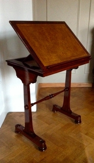 An exceptional English William IV Rosswood Reading Stand with leathered top
