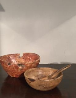 19th Century Swedish Dug out Painted Birch Bowls having an amazing patina.