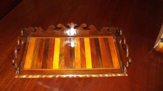 Extraordinary 19thC mahogany inlaid tray