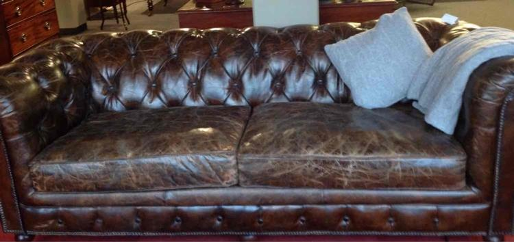 Lovely brown leather chesterfield. 3seater