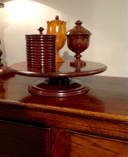 A very refined 19th. Century Mahogany Dumb Waiter ' Lazy Suzy ' having a rotating tray on a twisted base both in solid mahogany.