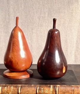 A early 20th Century English Fruitwood Treen pear Drawing Model and a 19th Century Lignum Vitae Treen Pear Drawing Model