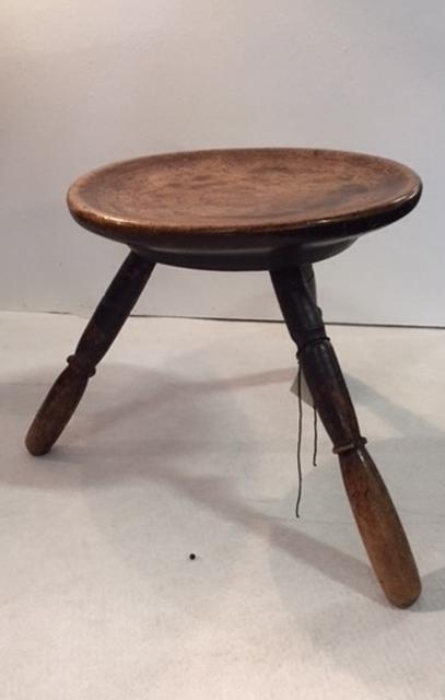 A George III ca 1800 Welsh Sycamore and Ash Stool with Cheese Top