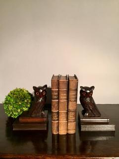 An Antique English Bookstand. Two Hand Carved Owls on Books.