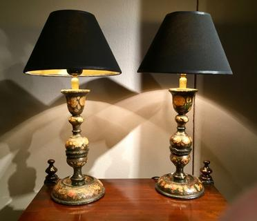 An Rare Pair of Kashmiri Hand Painted Lamp Stands.