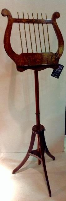 English 19th C. Mahogany Music Stand with Floral Inlay adjustable in hight