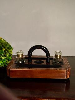 Stunning English 19th Century Walnut Tunbridge Ware Ink Stand