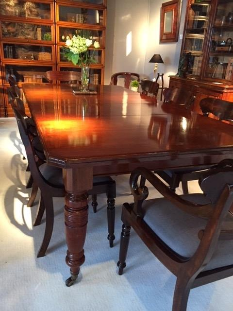 Very nice victorian mahogany dining table having two original leaves.